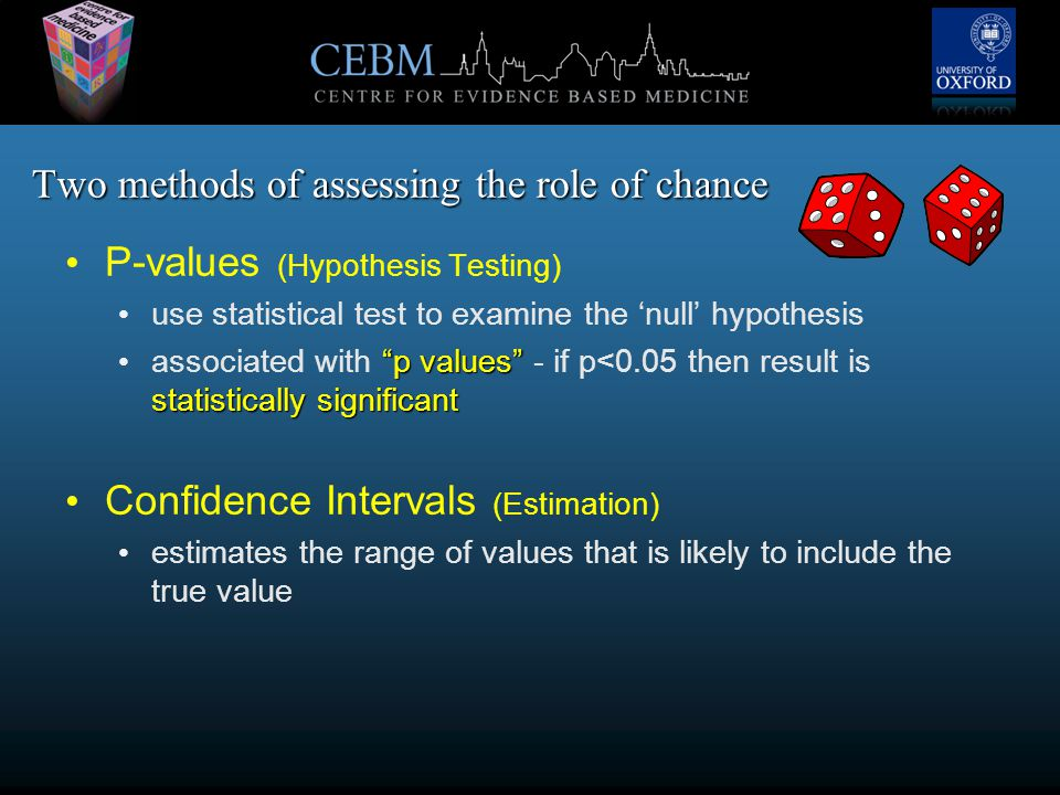 Two methods of assessing the role of chance P-values (Hypothesis Testing) use statistical test to examine the 'null' hypothesis p values statistically significant associated with p values - if p<0.05 then result is statistically significant Confidence Intervals (Estimation) estimates the range of values that is likely to include the true value