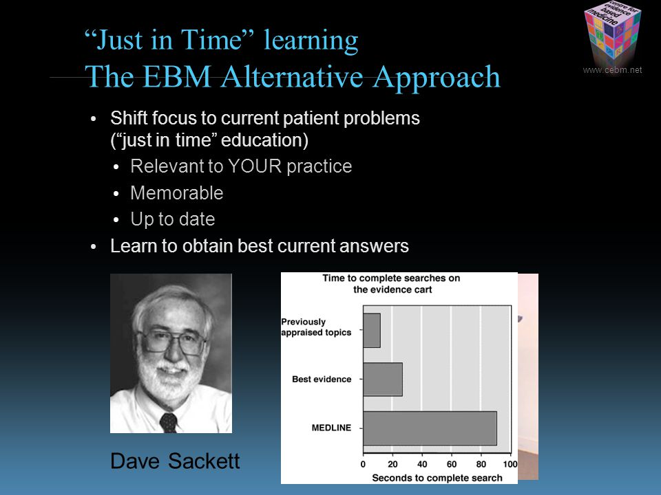 www.cebm.net Just in Time learning The EBM Alternative Approach Shift focus to current patient problems ( just in time education) Relevant to YOUR practice Memorable Up to date Learn to obtain best current answers Dave Sackett