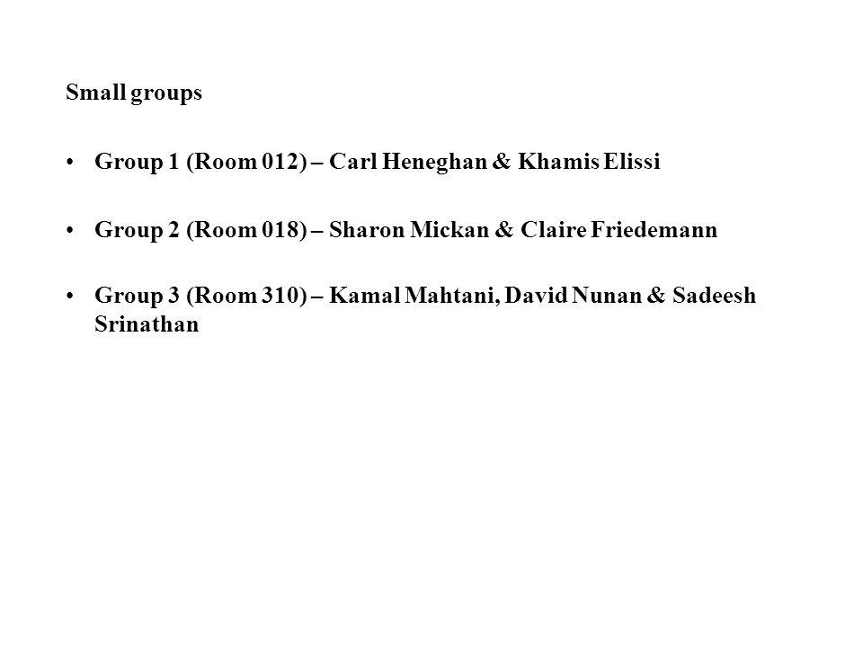 Small groups Group 1 (Room 012) – Carl Heneghan & Khamis Elissi Group 2 (Room 018) – Sharon Mickan & Claire Friedemann Group 3 (Room 310) – Kamal Mahtani, David Nunan & Sadeesh Srinathan
