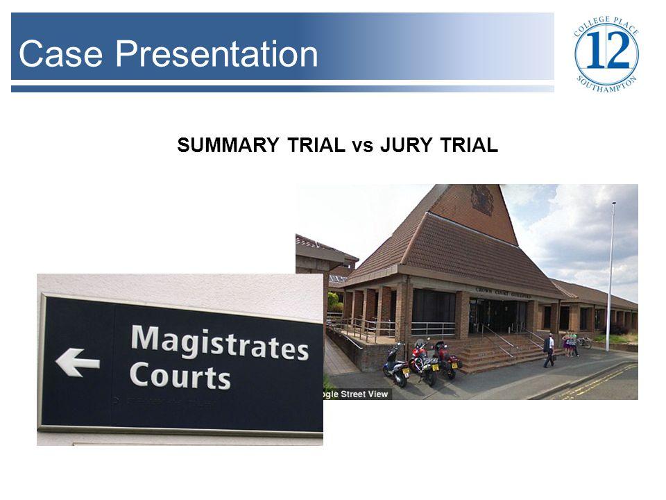 Case Presentation SUMMARY TRIAL vs JURY TRIAL