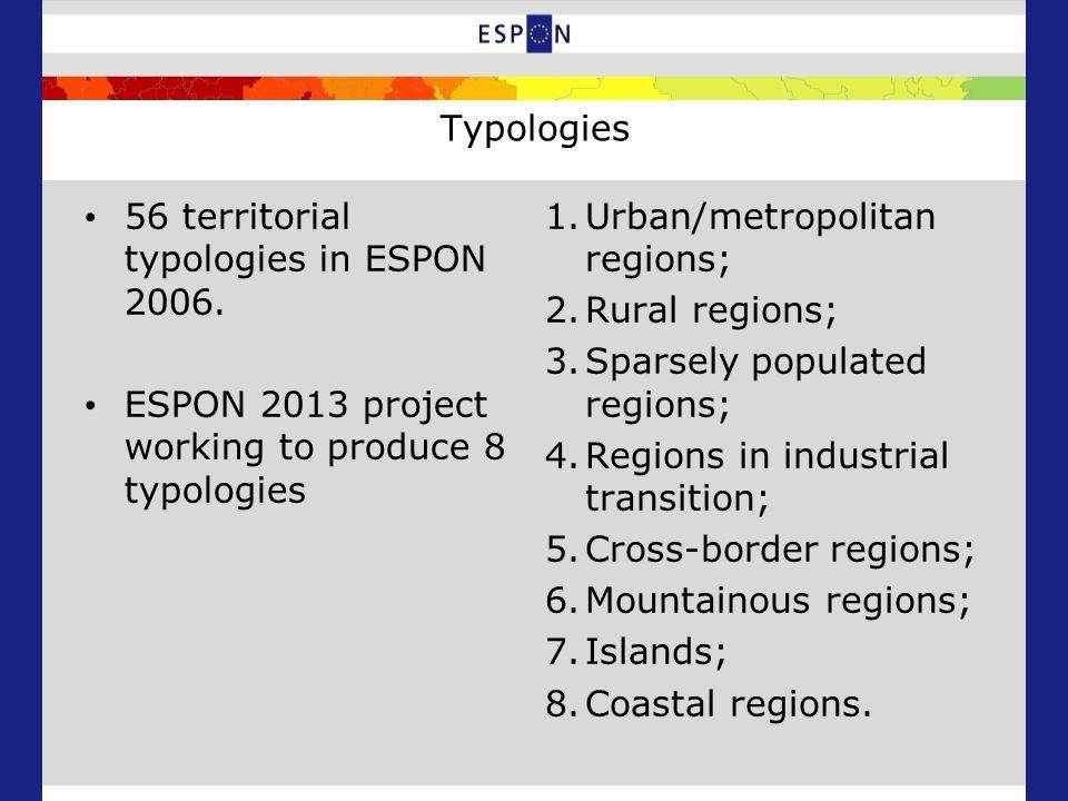 Typologies 56 territorial typologies in ESPON 2006.
