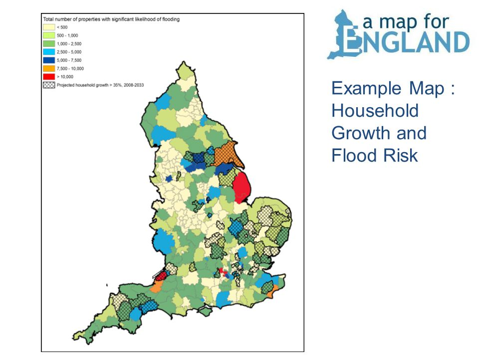 Example Map : Household Growth and Flood Risk