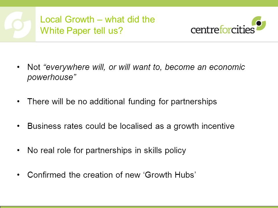 Local Growth – what did the White Paper tell us.