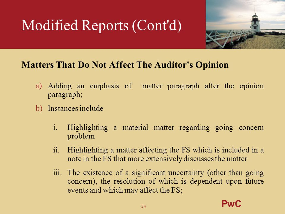 24 Modified Reports (Cont'd) Matters That Do Not Affect The Auditor's Opinion a)Adding an emphasis of matter paragraph after the opinion paragraph; b)