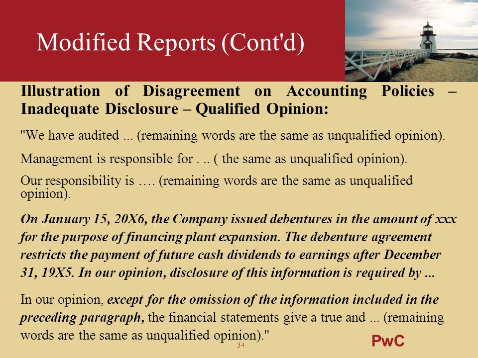 34 Modified Reports (Cont'd) Illustration of Disagreement on Accounting Policies – Inadequate Disclosure – Qualified Opinion: ''We have audited... (re
