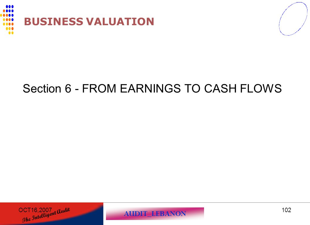 AUDIT_LEBANON The Intelligent Audit OCT16,2007102 BUSINESS VALUATION Section 6 - FROM EARNINGS TO CASH FLOWS