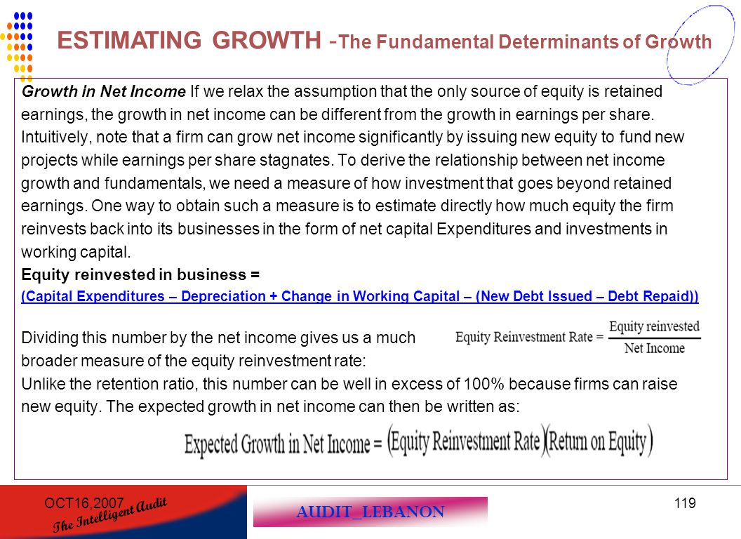 AUDIT_LEBANON The Intelligent Audit OCT16,2007119 Growth in Net Income If we relax the assumption that the only source of equity is retained earnings,