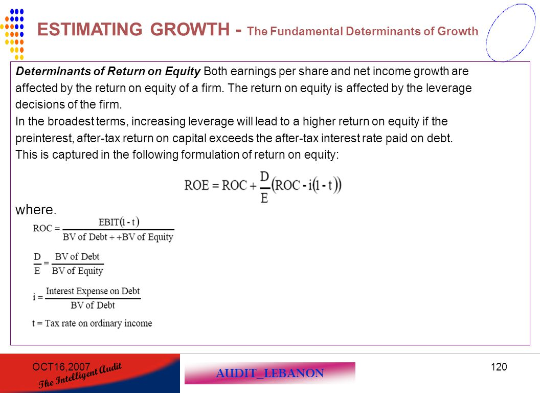 AUDIT_LEBANON The Intelligent Audit OCT16,2007120 Determinants of Return on Equity Both earnings per share and net income growth are affected by the r
