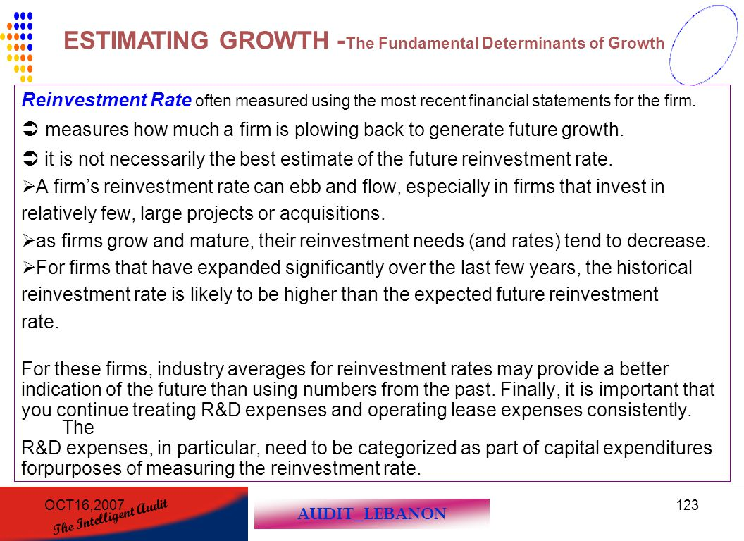 AUDIT_LEBANON The Intelligent Audit OCT16,2007123 Reinvestment Rate often measured using the most recent financial statements for the firm.  measures