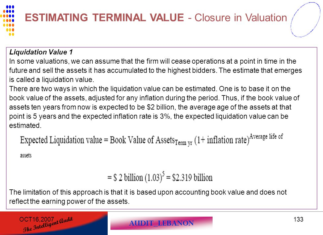 AUDIT_LEBANON The Intelligent Audit OCT16,2007133 Liquidation Value 1 In some valuations, we can assume that the firm will cease operations at a point