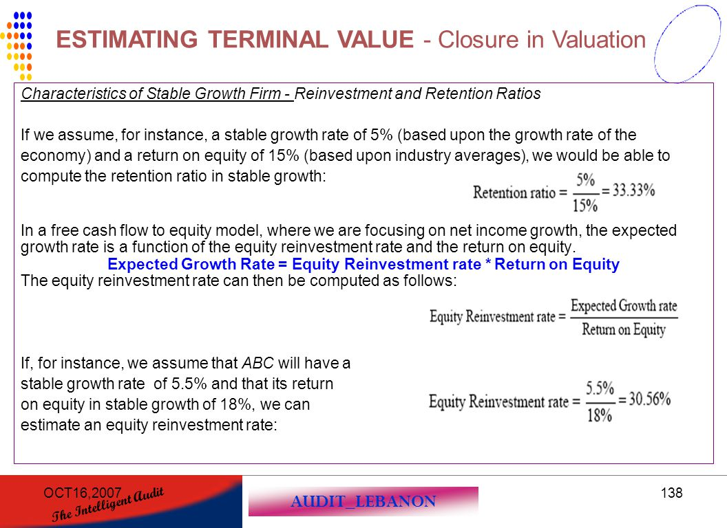 AUDIT_LEBANON The Intelligent Audit OCT16,2007138 Characteristics of Stable Growth Firm - Reinvestment and Retention Ratios If we assume, for instance