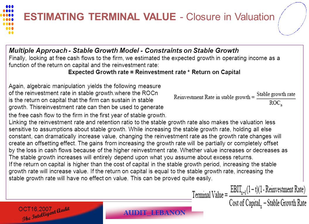 AUDIT_LEBANON The Intelligent Audit OCT16,2007139 Multiple Approach - Stable Growth Model - Constraints on Stable Growth Finally, looking at free cash