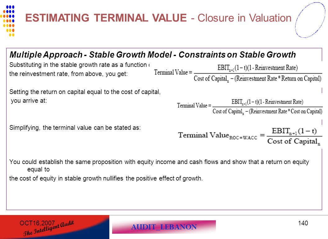 AUDIT_LEBANON The Intelligent Audit OCT16,2007140 Multiple Approach - Stable Growth Model - Constraints on Stable Growth Substituting in the stable gr