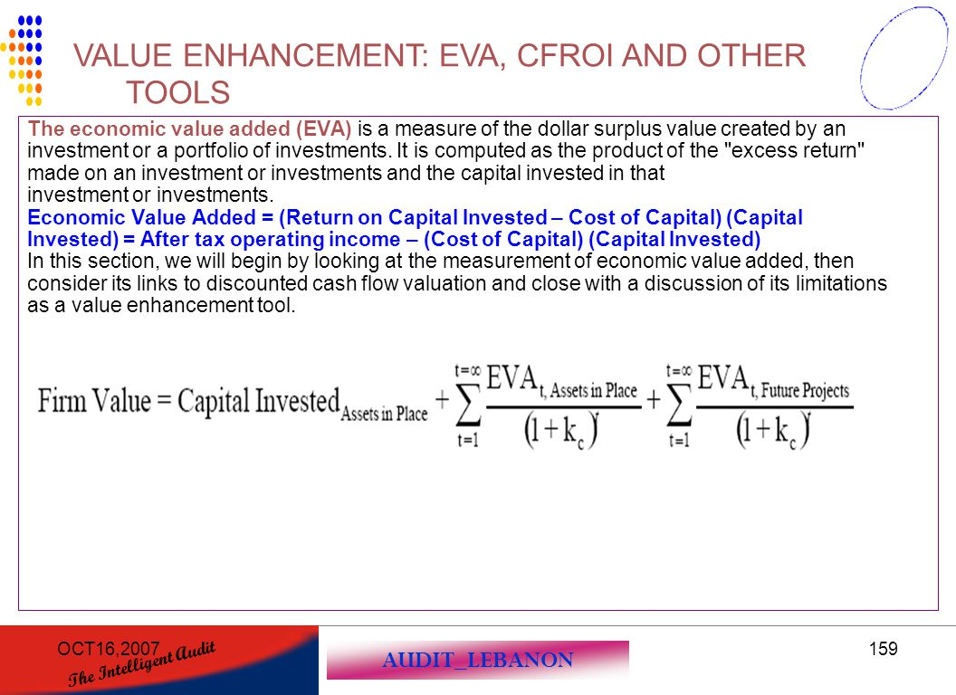 AUDIT_LEBANON The Intelligent Audit OCT16,2007159 The economic value added (EVA) is a measure of the dollar surplus value created by an investment or