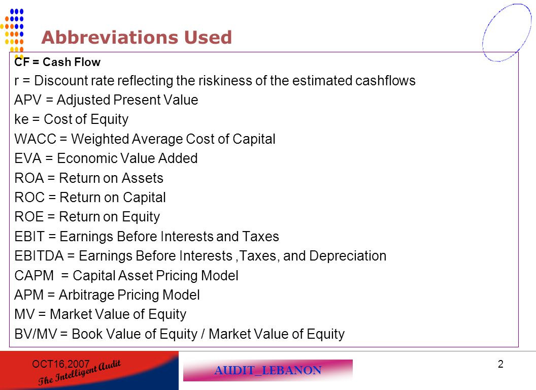 AUDIT_LEBANON The Intelligent Audit OCT16,20072 Abbreviations Used CF = Cash Flow r = Discount rate reflecting the riskiness of the estimated cashflow
