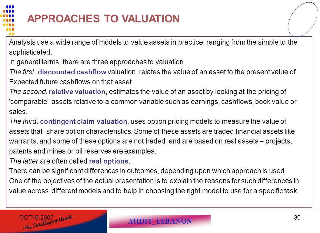 AUDIT_LEBANON The Intelligent Audit OCT16,200730 Analysts use a wide range of models to value assets in practice, ranging from the simple to the sophi