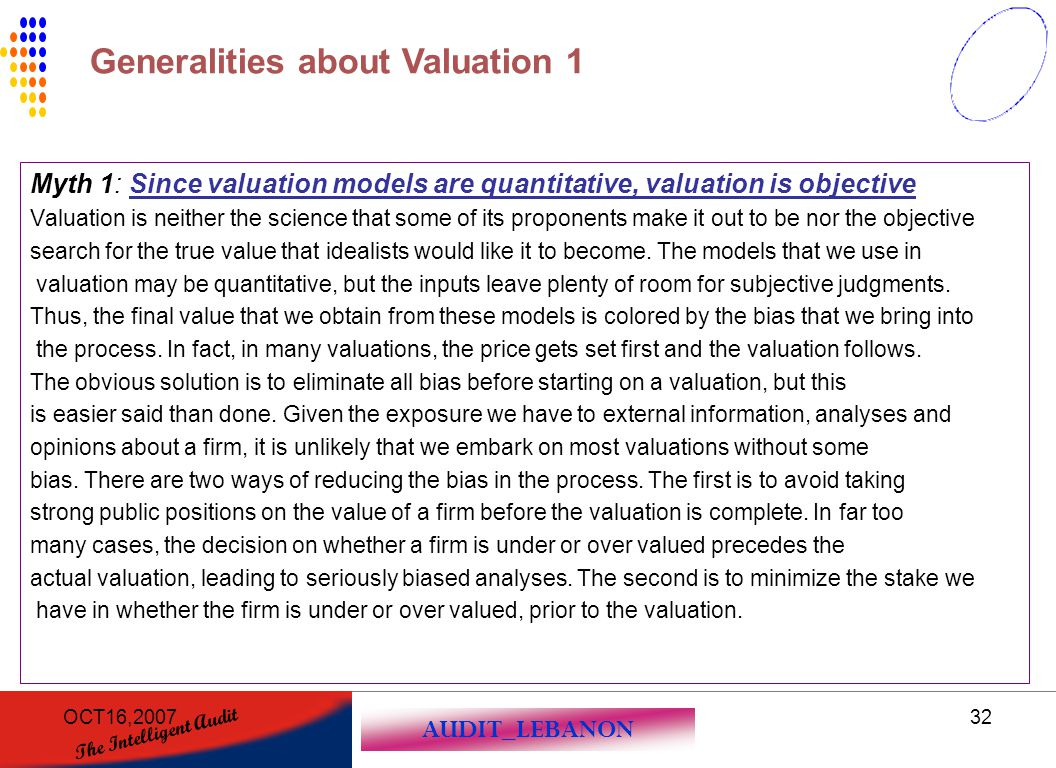 AUDIT_LEBANON The Intelligent Audit OCT16,200732 Myth 1: Since valuation models are quantitative, valuation is objective Valuation is neither the scie