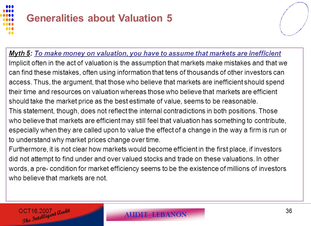 AUDIT_LEBANON The Intelligent Audit OCT16,200736 Myth 5: To make money on valuation, you have to assume that markets are inefficient Implicit often in