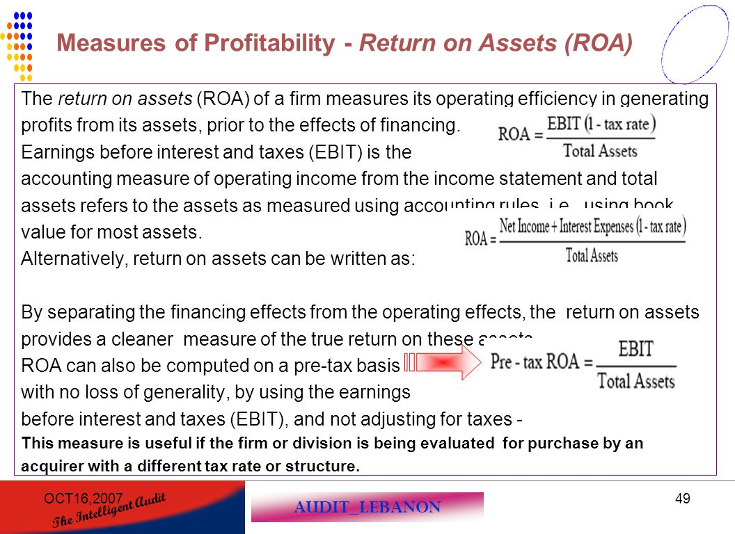 AUDIT_LEBANON The Intelligent Audit OCT16,200749 The return on assets (ROA) of a firm measures its operating efficiency in generating profits from its