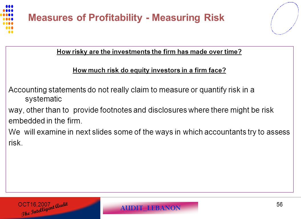AUDIT_LEBANON The Intelligent Audit OCT16,200756 How risky are the investments the firm has made over time? How much risk do equity investors in a fir