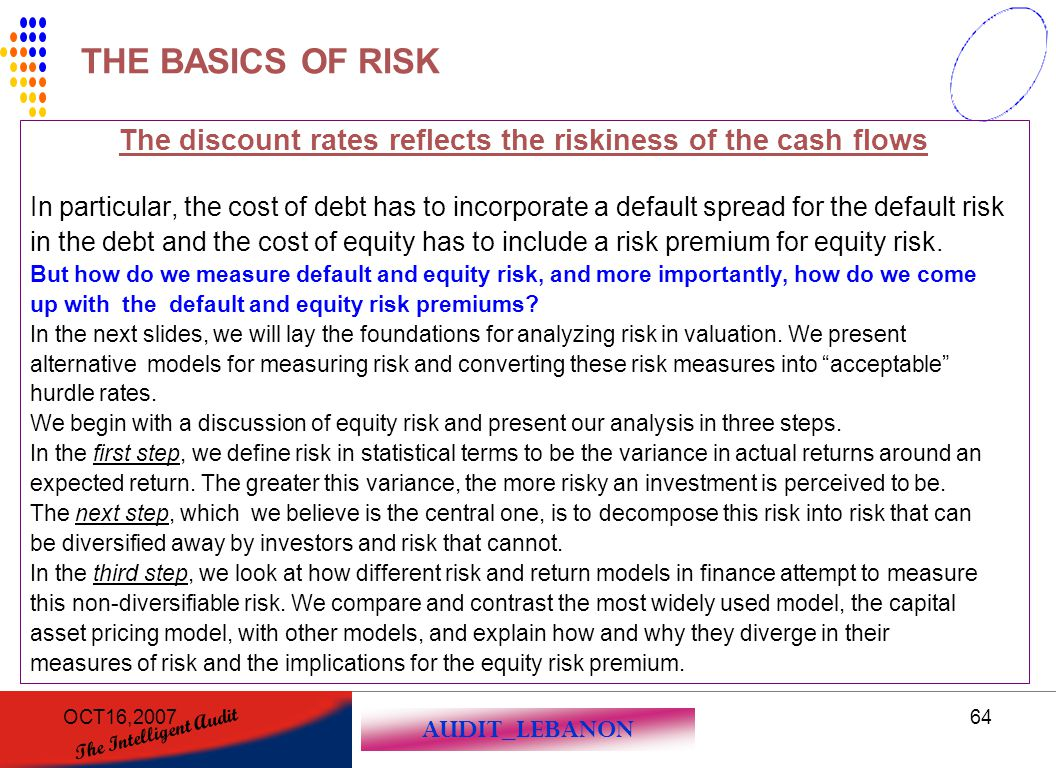 AUDIT_LEBANON The Intelligent Audit OCT16,200764 The discount rates reflects the riskiness of the cash flows In particular, the cost of debt has to in