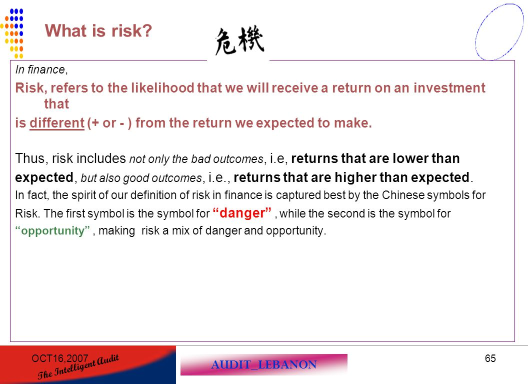 AUDIT_LEBANON The Intelligent Audit OCT16,200765 In finance, Risk, refers to the likelihood that we will receive a return on an investment that is dif