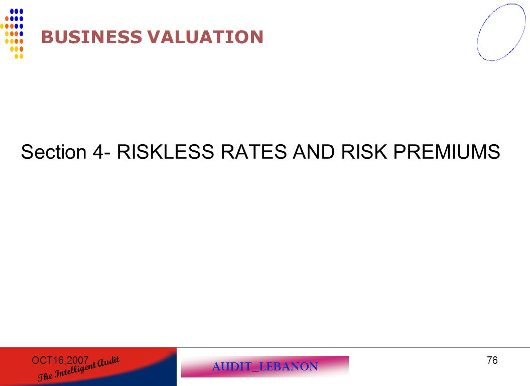 AUDIT_LEBANON The Intelligent Audit OCT16,200776 BUSINESS VALUATION Section 4- RISKLESS RATES AND RISK PREMIUMS