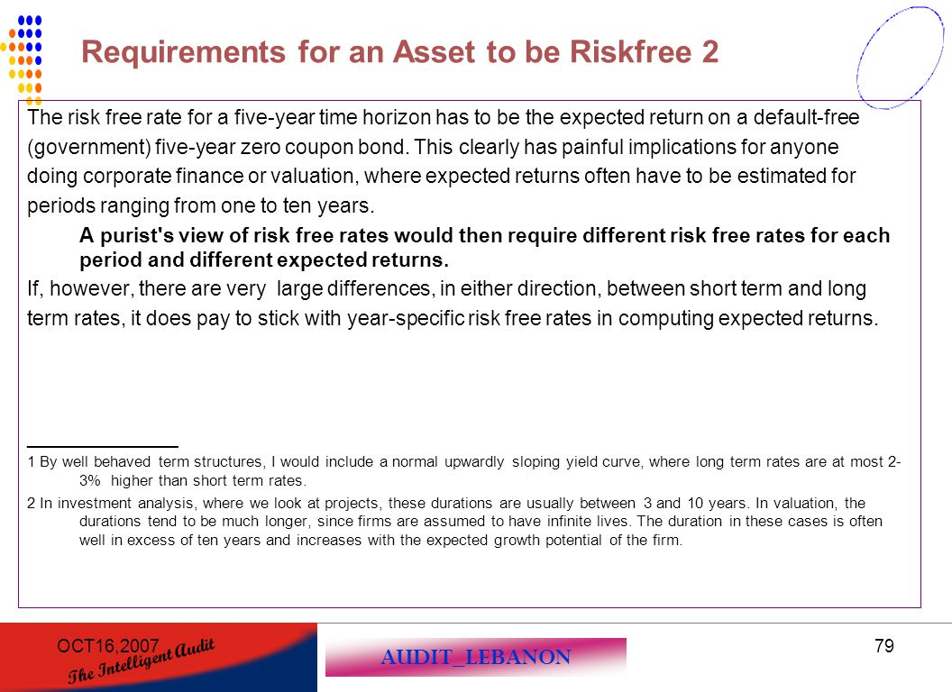 AUDIT_LEBANON The Intelligent Audit OCT16,200779 The risk free rate for a five-year time horizon has to be the expected return on a default-free (gove
