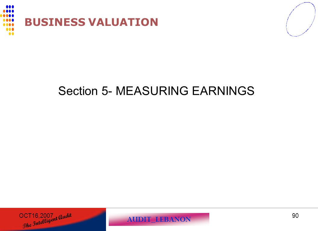 AUDIT_LEBANON The Intelligent Audit OCT16,200790 BUSINESS VALUATION Section 5- MEASURING EARNINGS