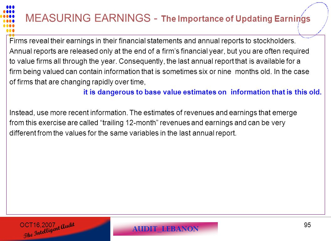 AUDIT_LEBANON The Intelligent Audit OCT16,200795 Firms reveal their earnings in their financial statements and annual reports to stockholders. Annual