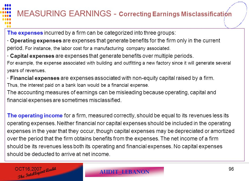 AUDIT_LEBANON The Intelligent Audit OCT16,200796 The expenses incurred by a firm can be categorized into three groups: · Operating expenses are expens