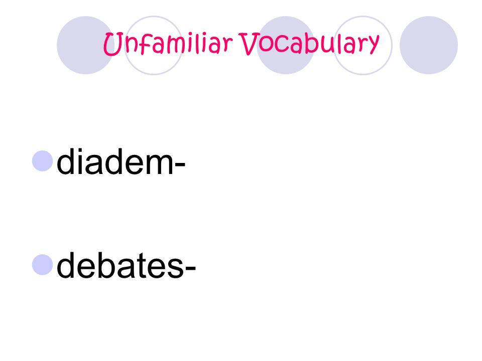 Unfamiliar Vocabulary diadem- debates-
