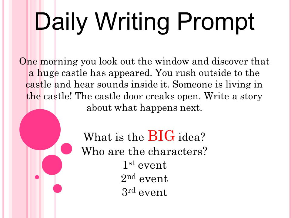 Daily Writing Prompt One morning you look out the window and discover that a huge castle has appeared. You rush outside to the castle and hear sounds