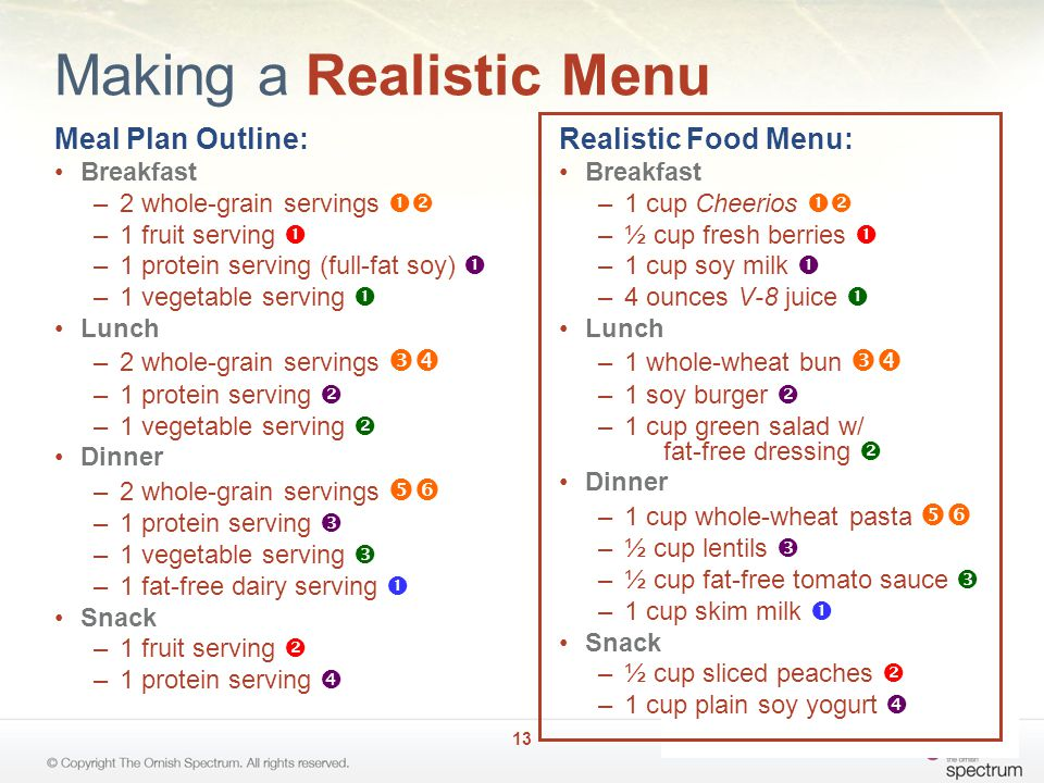 Making a Realistic Menu Meal Plan Outline: Breakfast –2 whole-grain servings  –1 fruit serving  –1 protein serving (full-fat soy)  –1 vegetable serving  Lunch –2 whole-grain servings  –1 protein serving  –1 vegetable serving  Dinner –2 whole-grain servings  –1 protein serving  –1 vegetable serving  –1 fat-free dairy serving  Snack –1 fruit serving  –1 protein serving  Realistic Food Menu: Breakfast –1 cup Cheerios  –½ cup fresh berries  –1 cup soy milk  –4 ounces V-8 juice  Lunch –1 whole-wheat bun  –1 soy burger  –1 cup green salad w/ fat-free dressing  Dinner –1 cup whole-wheat pasta  –½ cup lentils  –½ cup fat-free tomato sauce  –1 cup skim milk  Snack –½ cup sliced peaches  –1 cup plain soy yogurt  13