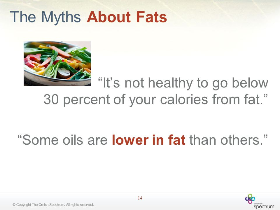 The Myths About Fats It's not healthy to go below 30 percent of your calories from fat. Some oils are lower in fat than others. 14
