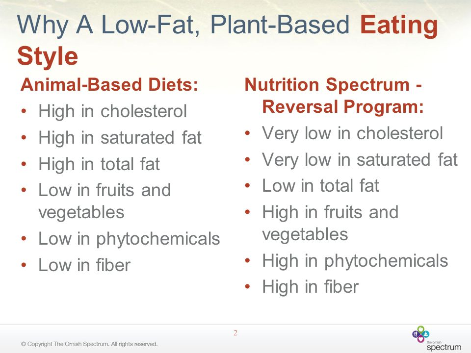 Why A Low-Fat, Plant-Based Eating Style Animal-Based Diets: High in cholesterol High in saturated fat High in total fat Low in fruits and vegetables Low in phytochemicals Low in fiber Nutrition Spectrum - Reversal Program: Very low in cholesterol Very low in saturated fat Low in total fat High in fruits and vegetables High in phytochemicals High in fiber 2