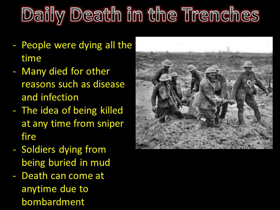 -People were dying all the time -Many died for other reasons such as disease and infection -The idea of being killed at any time from sniper fire -Sol