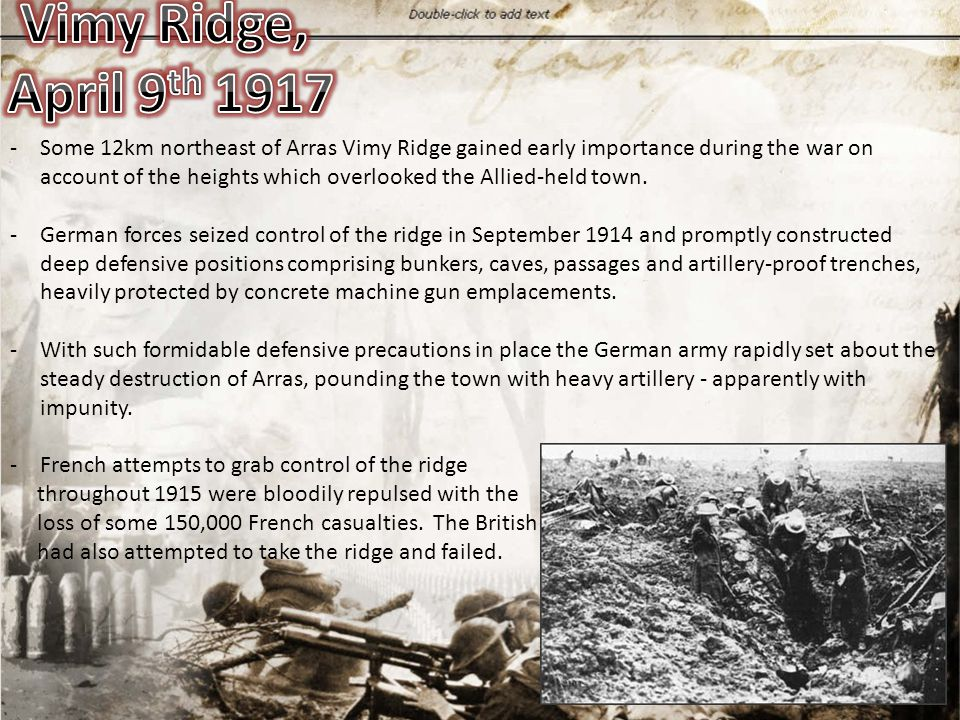 -Some 12km northeast of Arras Vimy Ridge gained early importance during the war on account of the heights which overlooked the Allied-held town. -Germ