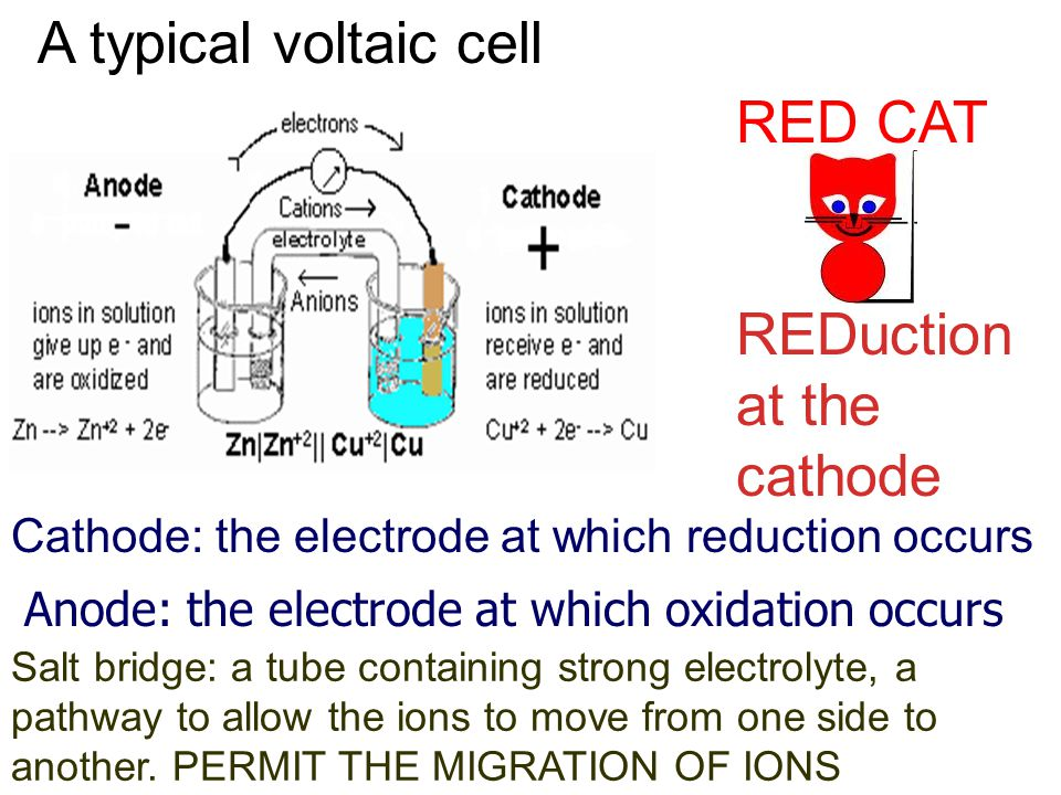 A typical voltaic cell Cathode: the electrode at which reduction occurs Anode: the electrode at which oxidation occurs RED CAT REDuction at the cathode Salt bridge: a tube containing strong electrolyte, a pathway to allow the ions to move from one side to another.