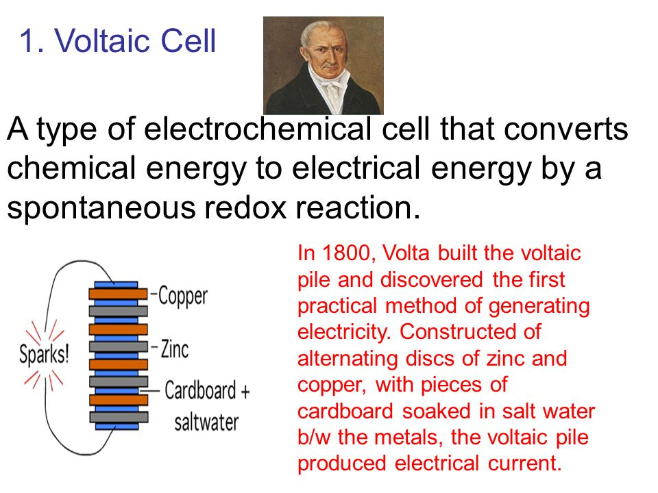 1. Voltaic Cell A type of electrochemical cell that converts chemical energy to electrical energy by a spontaneous redox reaction. In 1800, Volta buil