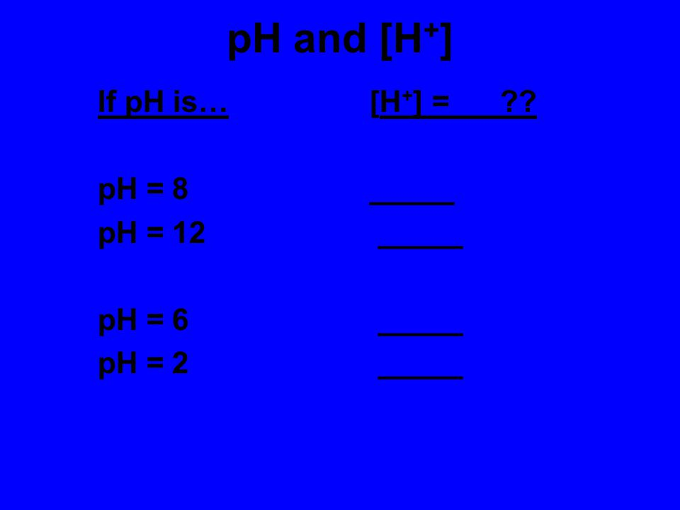 More about pH Kw = dissociation constant for water = 10 -14 1 x 10 -14 = [H + ] x [OH - ] = [ 10 -7 ] x [ 10 -7 ] A neutral solution has a pH of 7. [H