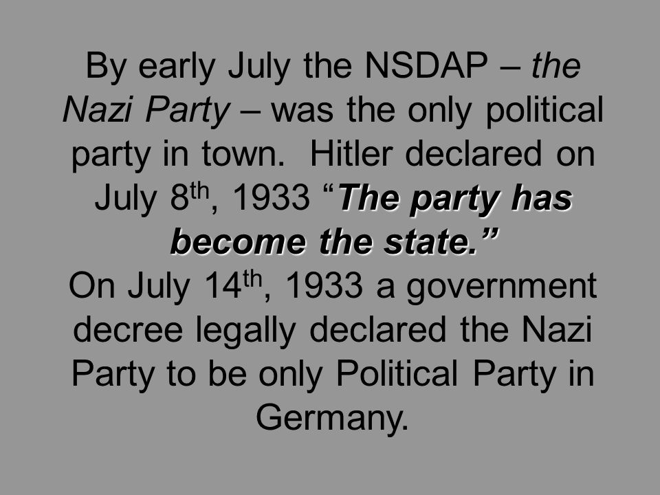 The party has become the state. By early July the NSDAP – the Nazi Party – was the only political party in town.