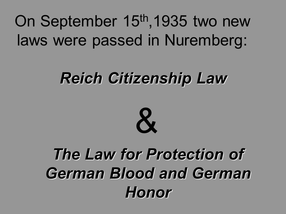 On September 15 th,1935 two new laws were passed in Nuremberg: Reich Citizenship Law The Law for Protection of German Blood and German Honor &