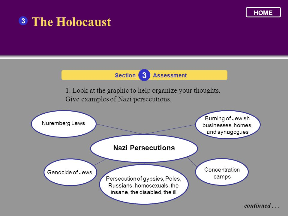 The Holocaust 3 1. Look at the graphic to help organize your thoughts.
