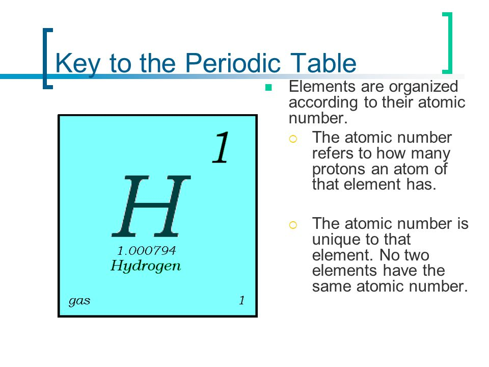 Key to the Periodic Table Elements are organized according to their atomic number.  The atomic number refers to how many protons an atom of that elem