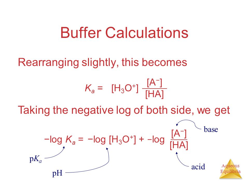Aqueous Equilibria Buffer Calculations Rearranging slightly, this becomes [A − ] [HA] K a = [H 3 O + ] Taking the negative log of both side, we get [A