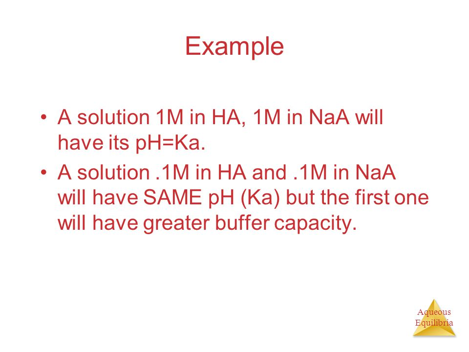 Aqueous Equilibria Example A solution 1M in HA, 1M in NaA will have its pH=Ka. A solution.1M in HA and.1M in NaA will have SAME pH (Ka) but the first