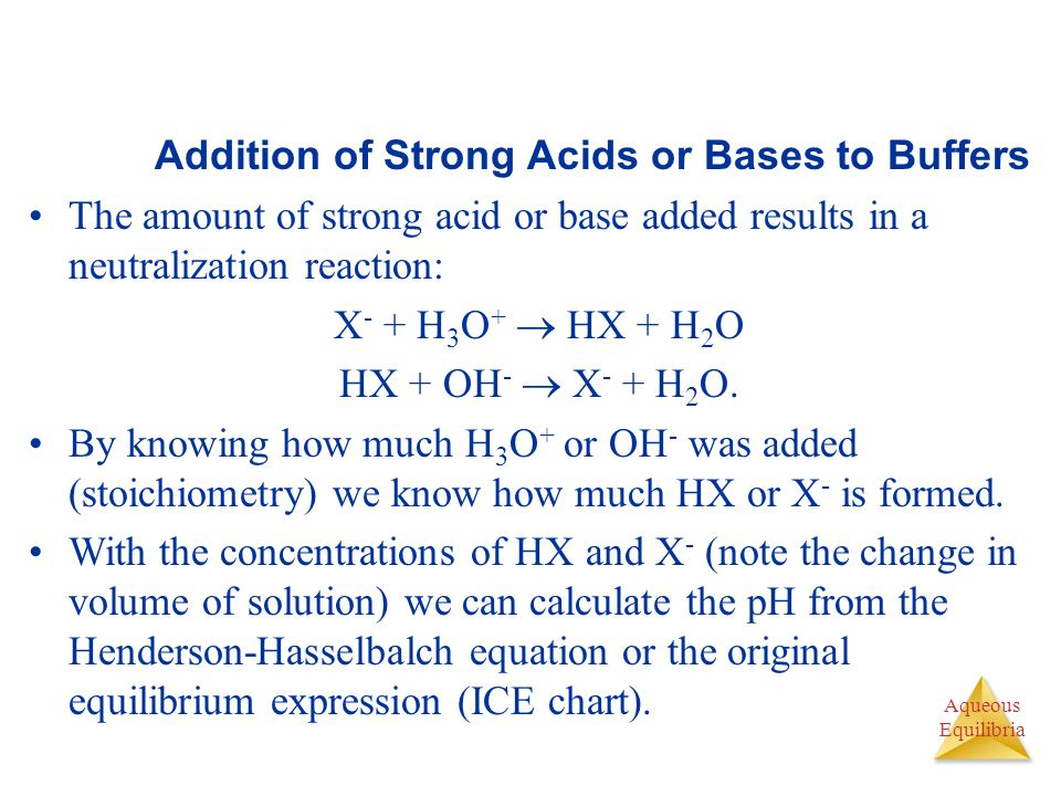 Aqueous Equilibria Addition of Strong Acids or Bases to Buffers The amount of strong acid or base added results in a neutralization reaction: X - + H 3 O +  HX + H 2 O HX + OH -  X - + H 2 O.