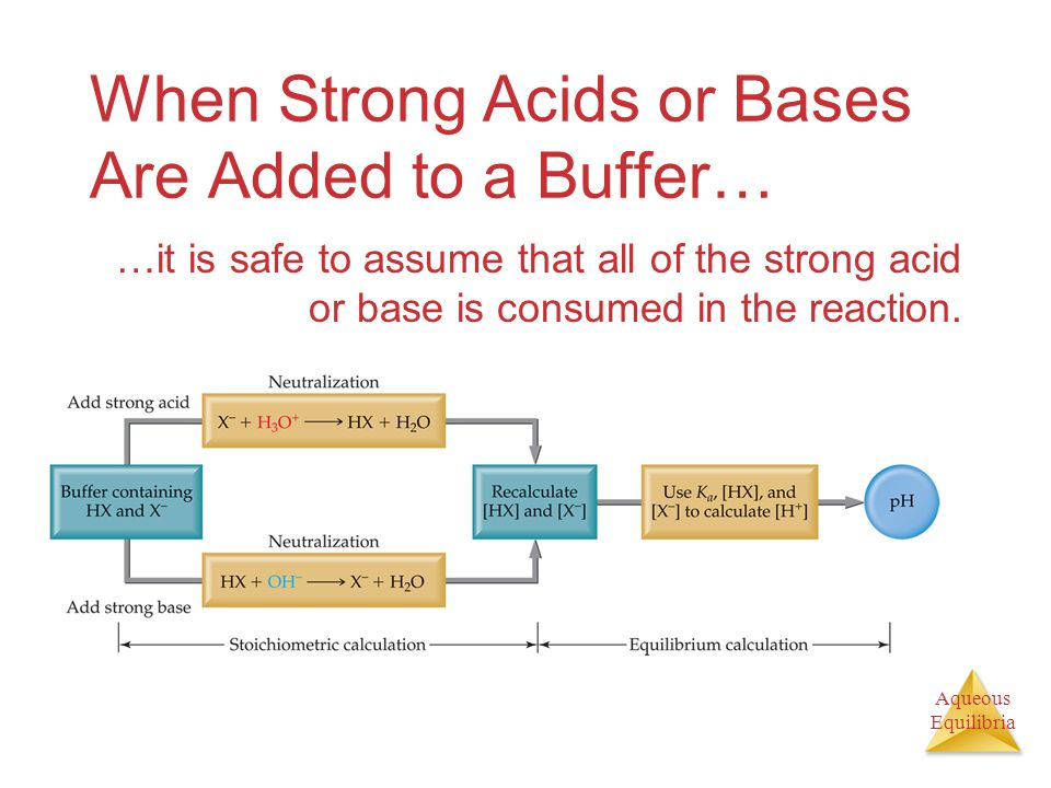 Aqueous Equilibria When Strong Acids or Bases Are Added to a Buffer… …it is safe to assume that all of the strong acid or base is consumed in the reaction.
