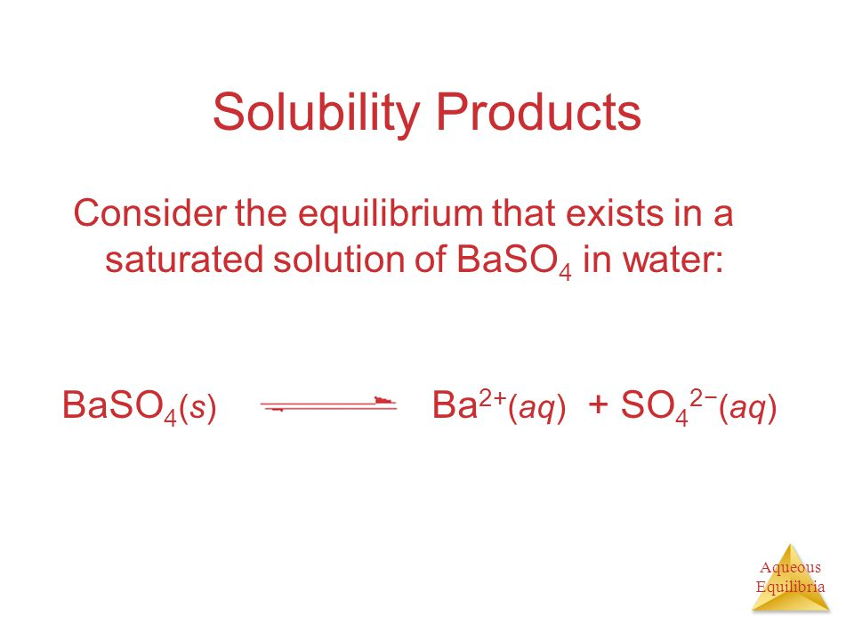 Aqueous Equilibria Solubility Products Consider the equilibrium that exists in a saturated solution of BaSO 4 in water: BaSO 4 (s) Ba 2+ (aq) + SO 4 2